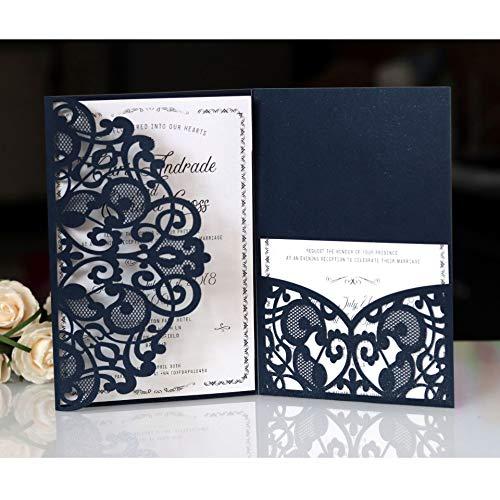 BLUGUL 10pcs Cartes d'invitation de Mariage, Hollow Floral Design, avec 2 Cartes Vierges, Bleu Marine