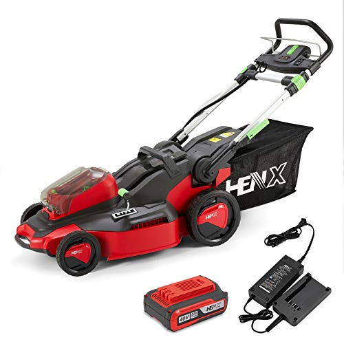HENX 20-Inch Cordless Lawn Mower 40V Max Lithium-ion with LED Headlights, 3-in-1 Function, 5 Deck Height, 5.0 AH Battery Included