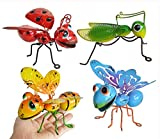 GIFTME 5 Metal Garden Yard Art Hanging Decoration Set of 4 Include Yellow Bee Blue Butterflies Red Ladybug and Green Mantis Perfect The Tree, Porch,Patio or Garden Hanging Wall Sculpture