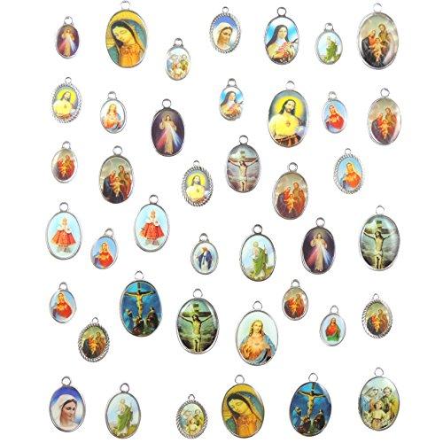 40 unidades de dijes con diseño de cruz esmaltada con forma de cruz de Jesús, nuestra dama con medalla milagrosa floral, para centro de mesa, aleación y crucifijo