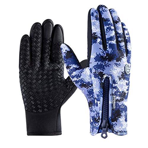 FENICAL 1 par de guantes a prueba de viento de camuflaje azul...