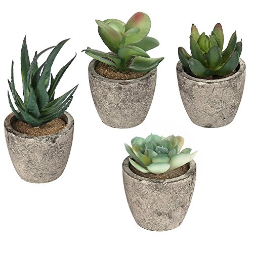 Mygift 9 CM Decorative Artificial Succulent Plants with Grey Pots, Pack of 4