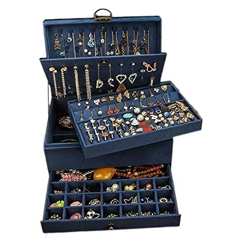TYUHKA Caja de joyería estilo chino con pendientes de cierre de franela, verde oscuro, rosa marino, negro, compatible con collar y pendientes de almacenamiento (color: azul)
