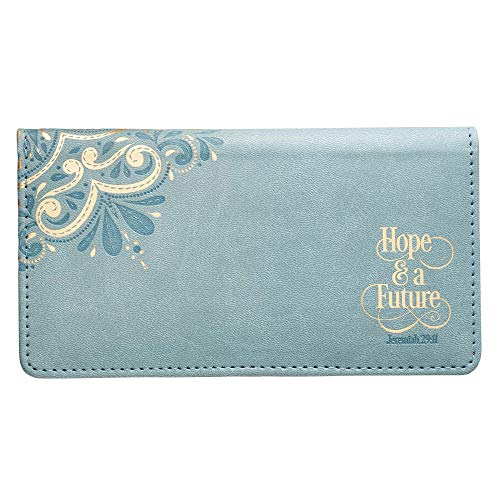 Hope & a Future Teal LuxLeather Checkbook Cover - Jeremiah 29:11