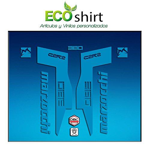 Ecoshirt 1P-UNTD-HA73 Autocollants Fork Marzocchi 380 C2Rc Am71 Aufkleber Decals Autocollants Gabel Fourches adhésives fourches, Bleu