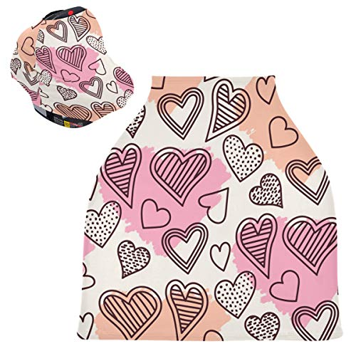 Sinestour Fundas para asiento de coche de bebé con diseño de corazón lindo – Funda elástica bufanda de enfermería, toldo multiusos para niños y niñas