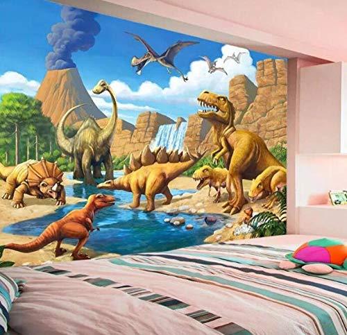 3D vliesbehang foto vlies premium fotobehang behang behang 3D-wandschilderij fantasy zeeufer dinosaurus Tyrannosaurus kinderkamer achtergrond 250*175 250 x 175 cm.