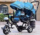 JINHH Triciclo Bebe Evolutivo, Carrito Doble para niños con Triciclo Doble Doble Asiento Giratorio reclinable 1-7 años de Carro de bebé