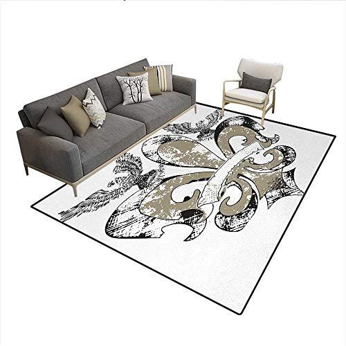 Floor Mat,Eagles on Fleur De Lis Emblem Power Symbol Victorian Creative Illustration,3D Printing Area Rug,Tan WhiteSize:6'6