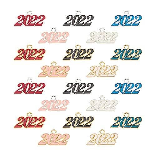 SUNNYCLUE 1 caja de 20 colgantes esmaltados 2022 de aleación de año nuevo, colgantes para hacer joyas, collares, pulseras, pendientes, accesorios, manualidades, graduación, dorado, plata, 10 colores