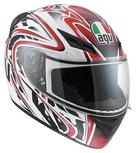 AGV - Casco per Moto, Wire Bianco/Rosso, XL