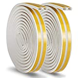 Vaxuia Rubber Seal Weather Strip Foam Tape Door Window Anti-Collision Self-Adhesive Rubber Water-Proofing Muffle the Noise Draught Excluder Door Insulation Strip Durable 12Meters(D Type, White)