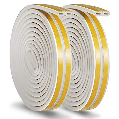 Gummidichtung Selbstklebend Vaxuia Dichtungsband für Türen Fenster Schaum Klebeband selbstklebendes Gummiband Wasserdicht Lärmschutz Zugluftschutz Qualität 12Meters (D-Typ, weiß)