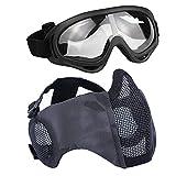 AOUTACC Airsoft - Juego de máscaras de malla de media cara con protección para los oídos y gafas para CS/caza/paintball/Shooting (TY)