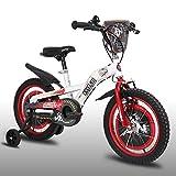 JXH Biciclette per Bambini 12/14/16 / 18Inch, Biciclette per Bambini Acciaio al Carbonio ad Alta della Formazione con Regalo Rotella per 2-9 Anni Ragazzi e Ragazze,18in White