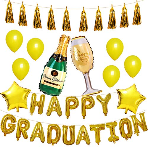 GRESAHOM Happy Graduation Balloons Decorations, 35pcs Gold Graduation Balloons Party Set with Latex Balloons Star Foil Balloons Foiled Tassel Garland Champagne Bottle Balloons Kit