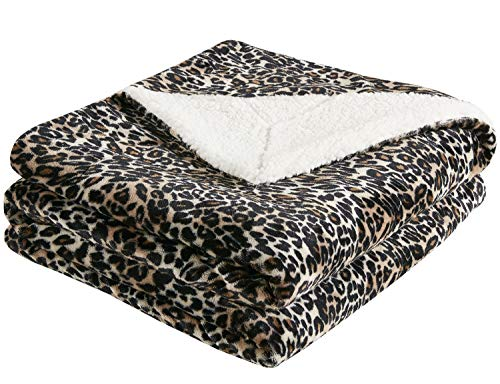 MP2 Soft Sherpa Fleece Throw Blanket - Fuzzy Cozy Plush Flannel Throws for Sofa, Couch, Bed, Outdoor or Travel - 50x60 Inches, Leopard