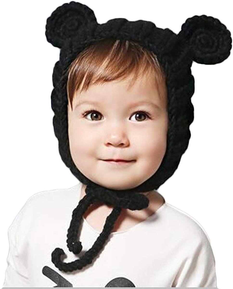 BAIMORE Winter Kids Crochet Cartoon cat/Bear Beard Knitted Hat Cute Warm Winter Caps