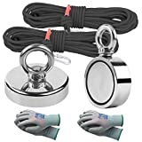 MHDMAG Fishing Magnet 2Pack, 600LBS Magnet Fishing Kit and 760LBS Combined Pulling Force Strong Magnet with 2 Ropes and 2 Gloves, Neodymium Rare Earth Magnet for Salvage Under and Retrieval in River.