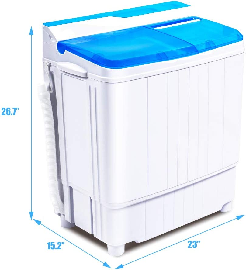 INTERGREAT Mini Washing Machine 17.6 Lbs Portable Washer and Dryer Combo, Small Compact Twin Tub Washer with Spin Cycle for Laundry, Apartments, Camping, Dorms, College, RV, Rooms (Blue)