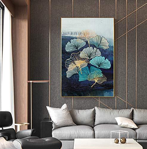 Lunderliny Cuadro De Lienzo De Hoja De Ginkgo Azul Nórdico Cuadro De Arte De Pared De Moda para Sala De Estar Decoración Abstracta Hermoso Cartel Azul Impreso 30x40cm