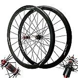 NS 700c Roues De Cyclisme Jantes Fibre Carbone Paire De Roues De Vélo De Route 40mm Mat Jante en Aluminium Noir Frein C/V 7 8 9 10 11 Vitesse (Color : Black Hub Black Logo)