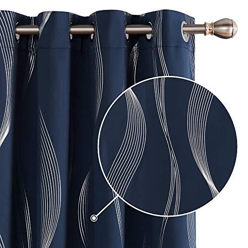 Deconovo Tende Oscuranti Termiche Isolanti per Finetre Moderne con Occhielli 140x260cm Blu Navy 2 Pannelli