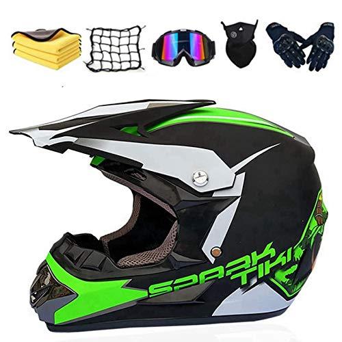 Casco de motocross para niños, casco de motocross, con gafas y máscara, color azul, rojo, verde, gris y rosa (verde, XL (60-61 cm)
