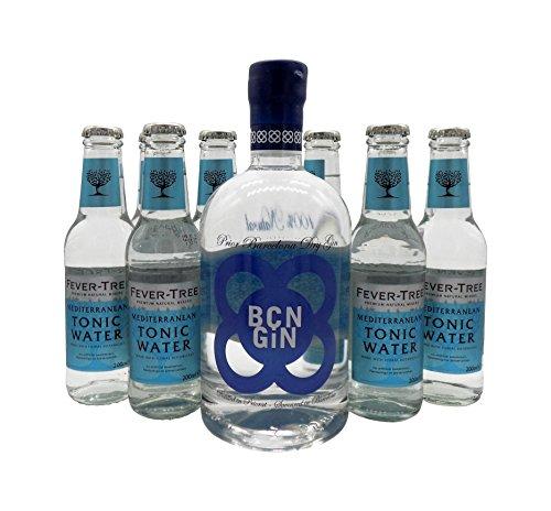 BCN Dry Gin 1x 0,7L (40% Vol.) & 8x Fever Tree Mediterranean Tonic Water 0,2L   Gin & Tonic Set
