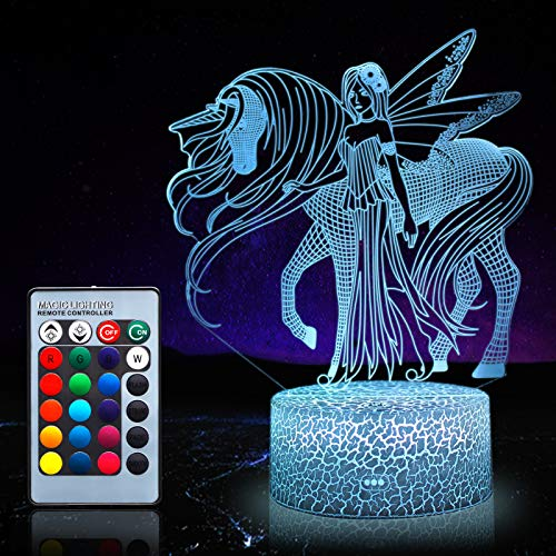 LUMBRILL Luz nocturna para niños, cabeza de unicornio, luz nocturna LED, 7 colores, lámpara de mesa para niños, luces de dormitorio con cable de alimentación USB, regalo de cumpleaños remoto