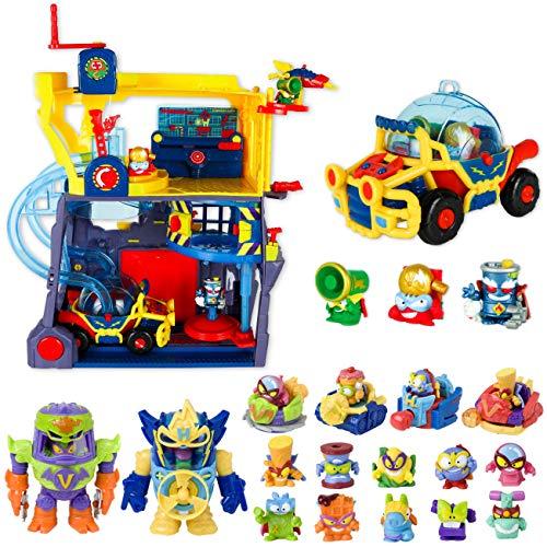 SuperThings Power Machines – Sede Superhéroes y Pack Sorpresa 16 Sets | Contiene Sede SuperThings, 10 Sobres One Pack, 4 Power Jet y 2 PowerBot | Juguetes y Regalos para Niños Cumpleaños