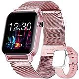 YUNFUN Smartwatch Mujer Reloj Inteligente Impermeable IP68 con Monitor de Sueño Pulsómetros Cronómetros Contador de Caloría, Pulsera de Actividad Inteligente para Mujer con iOS y Android (Rosado)