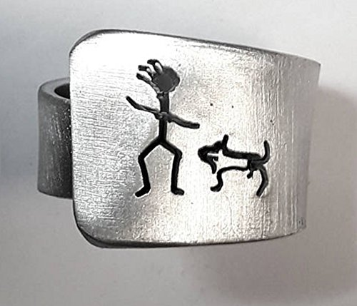 Open aluminum band ring with She (girl) and her dog, and custom text.