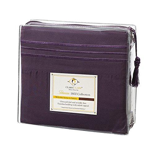 Clara Clark Premier 1800 Collection Bed Sheet Set, Queen, Purple Eggplant