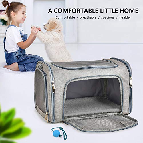 Henkelion Cat C   arriers Dog Carrier Pet Carrier for Small Medium Cats Dogs Puppies up to 15 Lbs, TSA Airline Approved Small Dog Carrier Soft Sided, Collapsible Waterproof Travel Puppy Carrier - Grey