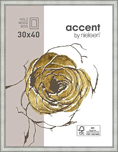 Accent Holz Bilderrahmen Ascot, 30x40 cm, Silber
