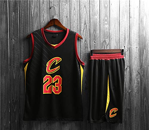SHR-GCHAO NBA Cavaliers # 23 James Pallacanestro Jersey Set, Bambino di età Basket Pantaloncini Estivi Maglie Uniforme di Basket Top E Shorts, Nero,XL(Child)