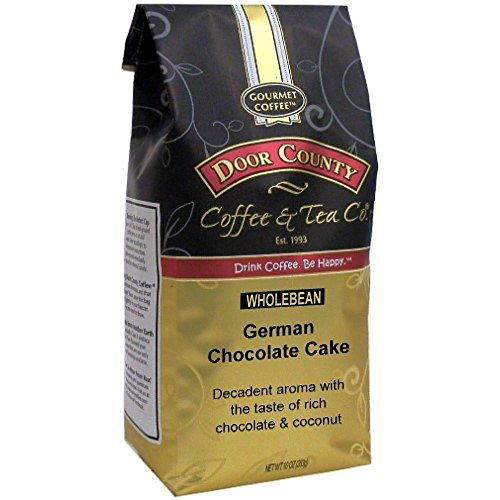 Door County Coffee, German Chocolate Cake, Chocolate & Coconut Flavored Coffee, Medium Roast, Whole Bean Coffee, 10 oz Bag