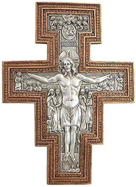 设计 Toscano San Damiano 人造银色和金色雕塑墙十字架