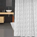 Swanson Home Edler Duschvorhang mit Duschhaken. Jacquard Kollektion im Vintage Muster. 120/180 x 200 cm (Grau, 120 x 200 cm)