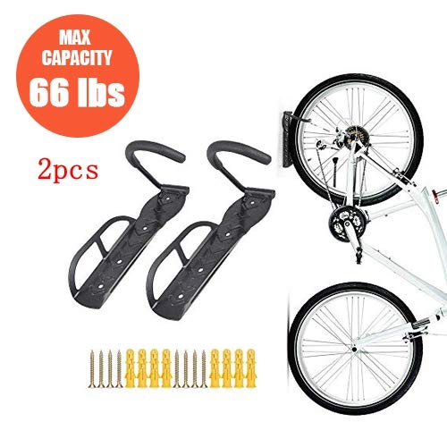 Teraysun 2pcs Heavy Duty Adjustable Vertical Bike Rack Bike Hanger Bicycle Garage/Shed Wall Hook Mount Indoor Storage System For Saving Place Quickly/Easily Hang/Detach Holds Up To 66lb
