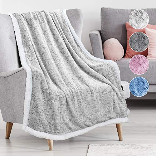 Catalonia Classy Sherpa Throw Blanket, Soft Fluffy Cozy Fleece Blanket, Warm Thick Velvet Plush Couch Sofa Throw, Plush Winter Single Bed Blankets for Adults Child, 150 x 130 cm, Melange Grey