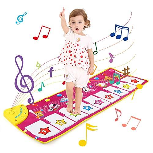 NEWSTYLE Piano Mat Tanzmatten Klaviermatte Musikmatte Kinder 8 Tierstimmen Klaviertastatur Spielzeug Musik Matte, Keyboard Matten Spielteppich Baby Tanzmatte für Jungen Mädchen Kinder 100*36 cm