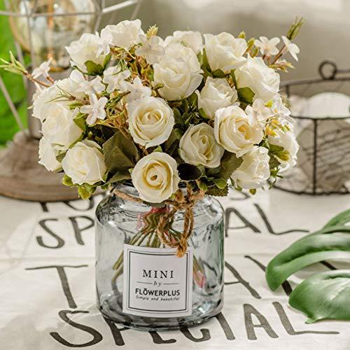 BlueXP 3 Stück Künstliche Blumen Seide Rose Gefälschte Blumen Blumenstrauß Fake Rose Brautstrauss Blumen für Hausgarten Hochzeit Dekoration Partei DIY Dekoration Simulation Europäischen Rose Weiß