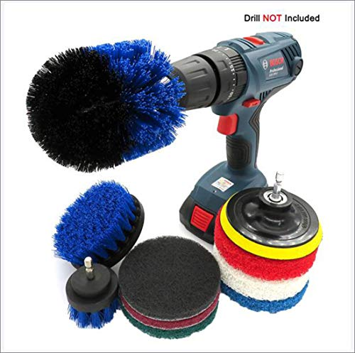 10 Piece Drill Brush Drill Cleaning Brush Attachment Set Scrubbing Tools for Tile, Toilet, Grout, Wheels, Bathroom, Tub