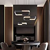 IKK Modern LED Chandelier, Acrylic in Crystal Shape Light Fixture, Dimmable with Remote Control, 3 Square Lampshades Dark Grey Modern LED Light for Dining Room Living Room Bedroom Dress Room.