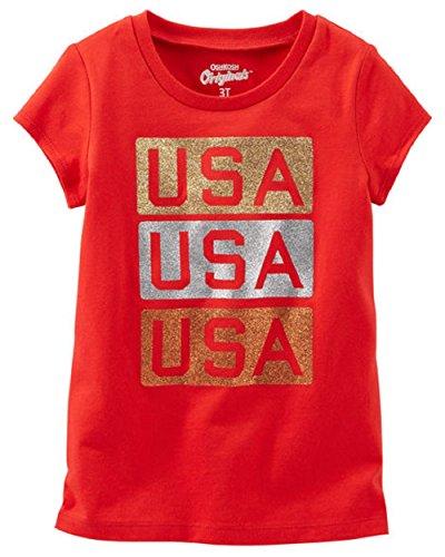 OshKosh Originals Baby Girls' USA Glitter Graphic Tee Shirt (24 Months) Red