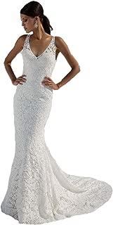 SIQINZHENG Women's Double V-Neck Bridal Gowns Lace Beach Wedding Dress