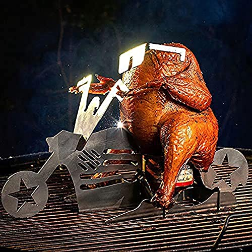 Portable Chicken Stand Beer, Motorcycle Beer Can Chicken Stand- Bbq or Oven Roasting, Cooking Utensil, Stainless Steel Rack with Glasses Indoor Outdoor Use