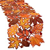 Simhomsen Embroidered Leaves Table Runner for Thanksgiving, Fall or Autumn Harvest Decorat...